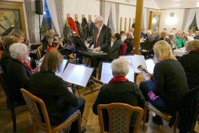 Das Mandolinen-Orchester Emsdetten unter der Leitung von Kapellmeister Karl-Heinz Keller sorgt für stimmungsvolle Klänge.